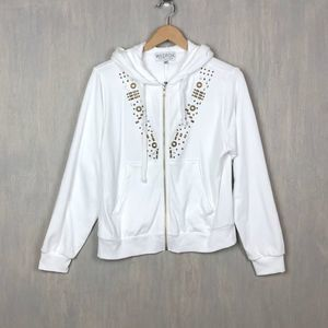 Wildfox Urban Cowgirl zip hoodie white beaded L